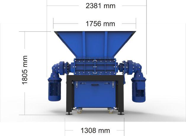 Rozdrabniacz 5% RABAT shredder dwu-wałowy RF-290/800/2×11 kW!polski !