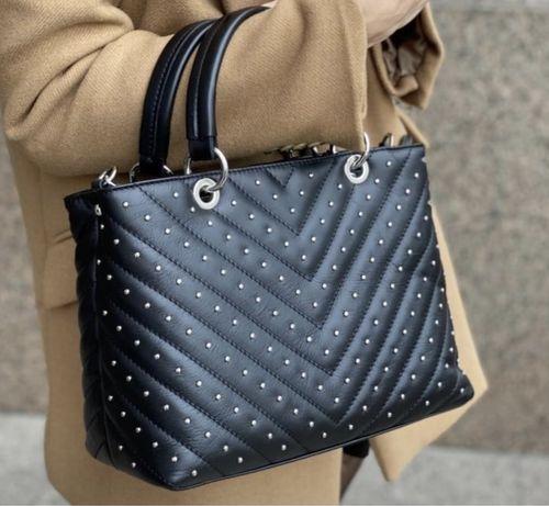 Черная кожаная сумка Итальянская сумка стеганая сумка кожа