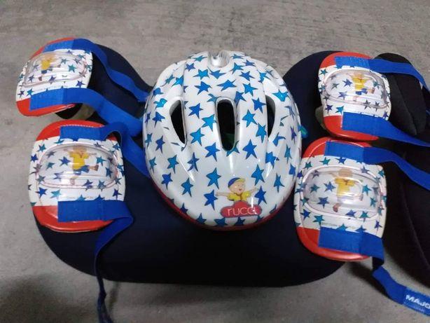 Conjunto capacete, joelheiras, cotoveleiras