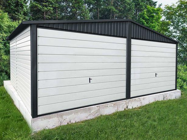 Garaż blaszany 6x5 Premium - Biel + Matowa Czerń garaże blaszane