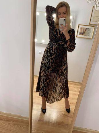 Sukienka plisowana z paskiem NOWA z metką