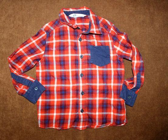 Рубашка в клетку красная на 3-4-5 лет мальчику