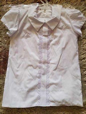 Школьная нарядная белая блуза блузка для девочки. 128р.