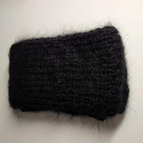 Шарф чёрный шерстяной вязаный (новый)