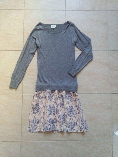 Sukienka 2w1 sweter plisowana spódnica kremowa kwiaty vintage retro