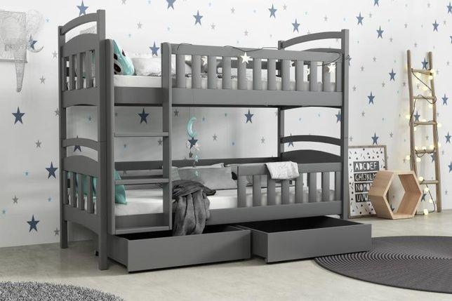 Nowe sosnowe piętrowe łóżko dziecięce + materace + szuflady