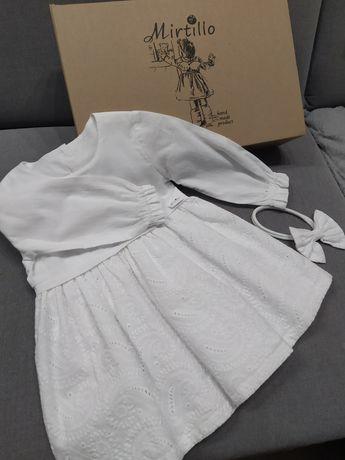 Sukienka do chrztu biała r. 74/80 Mirtillo