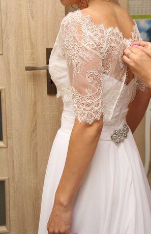 Sukienka ślubna + bolerko z koronki i welon