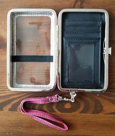 Etui na telefon dokumenty karty Mini torebka wizytowa różowa brokat