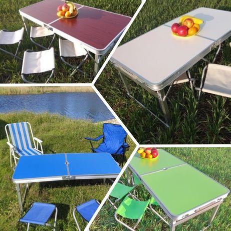 Стол для пикника усиленный с зонтом +4 стула. На рыбалку охоту природу