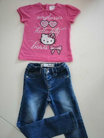 Calças e t-shirt 3-4 anos Hello Kitty