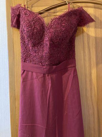 Вечернее выпускное платье в пол со шлейфом
