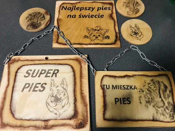 tabliczki drewniabe ozdobne na płot dla psa i innych zwierząt