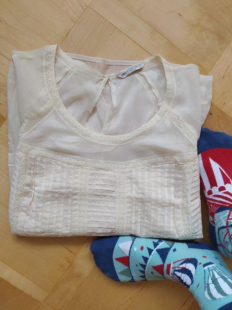 Bluzka koszula damska bawełna XL koronka marks & Spencer kremowa biała