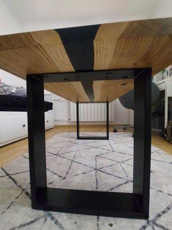 Dębowy stolik/stół/ława kawowy z czarną żywicą LOFT