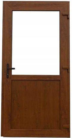 Drzwi Sklepowe Biurowe zewnętrzne 75 mm PCV wys. 210 x 105. TANIO.