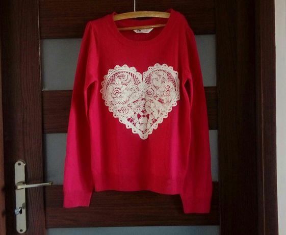 Sweter czerwony z sercem H&M 146 elegancki sweterek 152