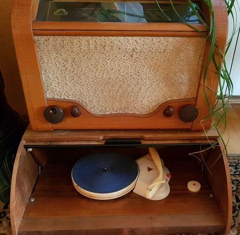 Radio lampowe Aga + gramofon chlebak