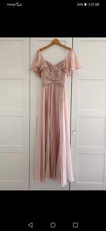 Plisowana sukienka ASOS brudny róż midi/maxi
