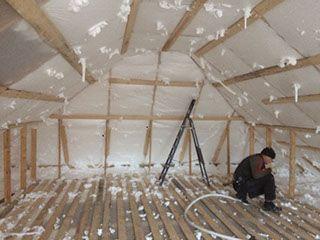 Утепление домов, стен, крыш пеноизолом ( Жидким пенопластом )