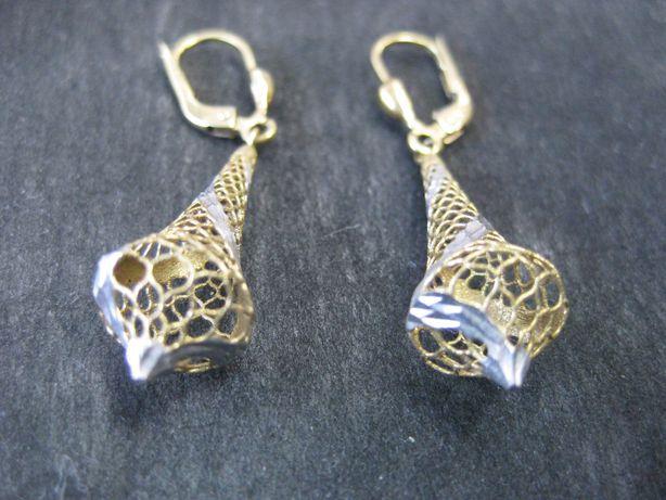 Stare złote kolczyki dzwonki złoto białe złoto