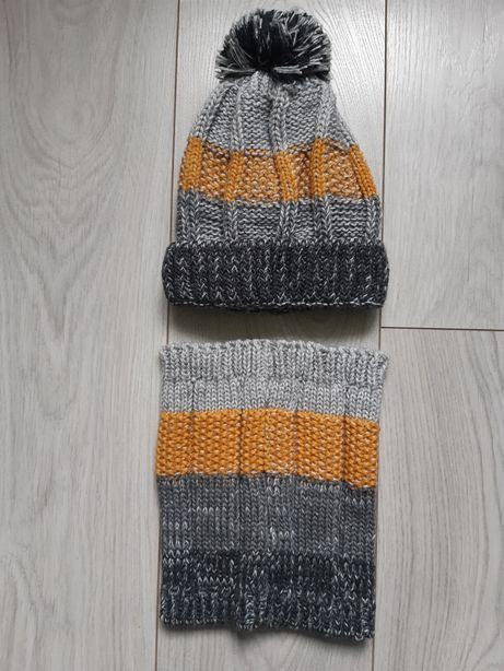 Czapka i komin zimowy 5-10-15 rozmiar czapki 52-54