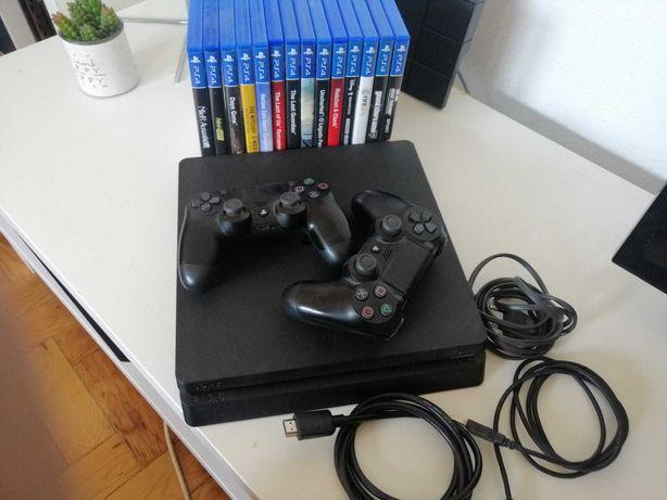 PS4 de 1TB com dois comandos originais e 13 jogos incluídos