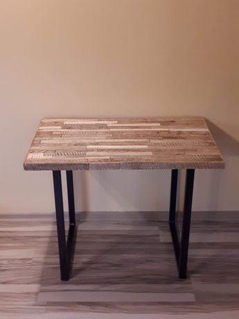 Stolik kawowy drewniany - metalowe nogi - loftowy