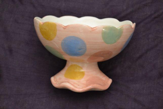 Pucharek Miska na lody desery kropki kropeczki Duża pudrowy róż
