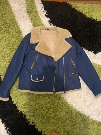 Джинсовая теплая куртка
