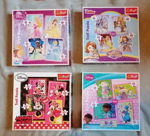 Puzzle trefl 4w1 Księżniczki Minnie Dosia Księżniczka Zosia