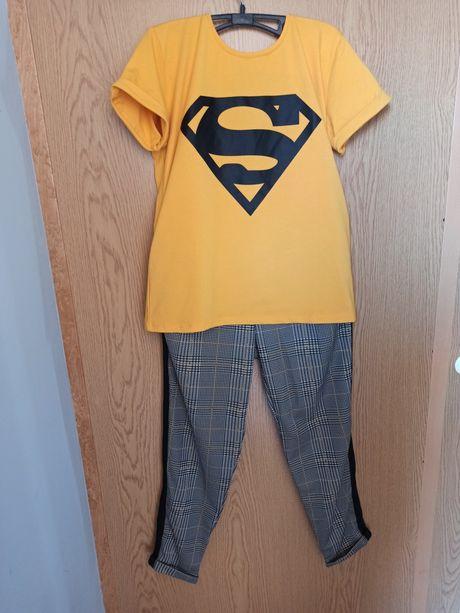 Zestaw koszulka spodnie lampasy Superman musztardowy L Nowy