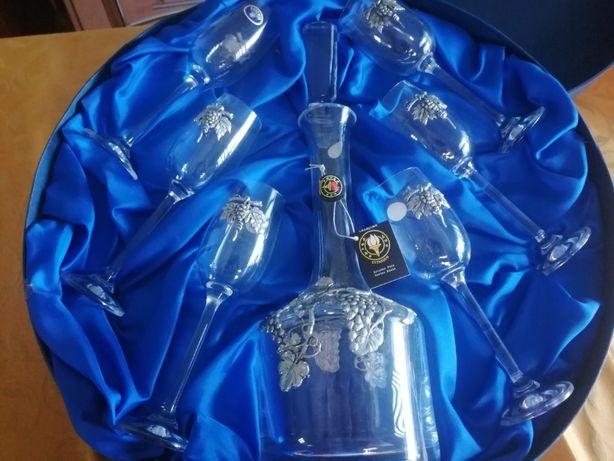 Conjunto de copos de Cristal e Estanho Português