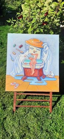 """Картина маслом.1986г. Картина Абутковой """"Мойдодыр"""".Соцреализм.Подарок."""
