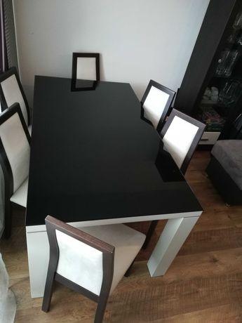 Stół do jadalni, biały+czarne szkło
