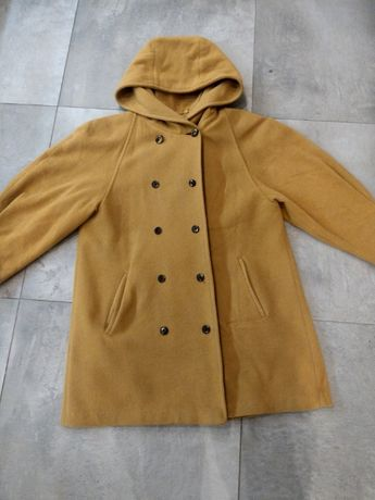 XL musztardowy płaszcz trapezowy może być ciążowy z kapturem guziki
