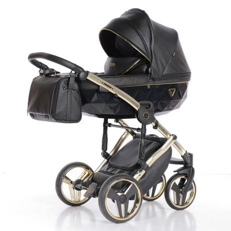 Дитяча коляска 2в1 Junama Fluo 04 чорна із золотою рамою