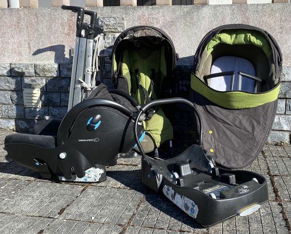 BebéConfort Trio Carrinho, cadeira, ovo, alcofa e base auto