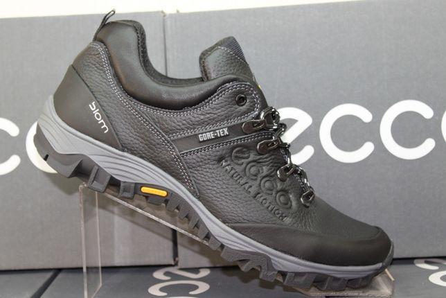 ECCO- кожаные черные кроссовки - кеды- туфли (код:6-22чер.)