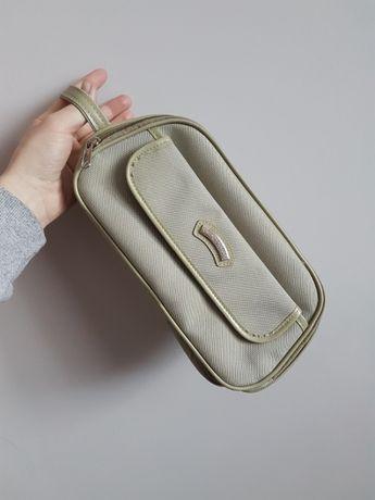 porządna kosmetyczka wodoodporna unisex beżowa khaki na podróż cerata