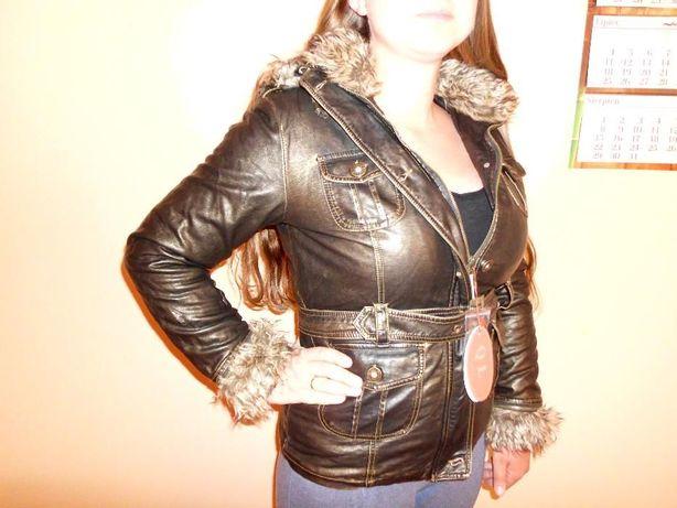 Nowa czarno-złota kurtka, na wiosnę/jesień, ekoskóra, futerko, rozmiar