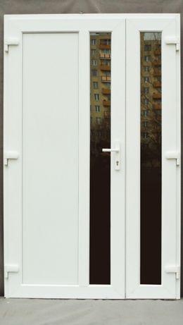 zewnętrzne PCV drzwi 130x210 białe dwie cięki szyby