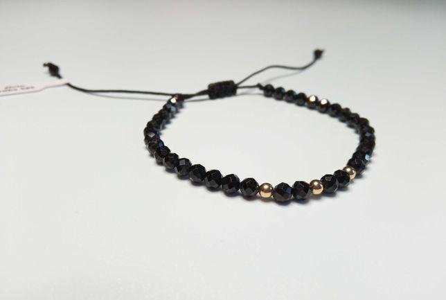 Bransoletka złoto 585 czarny spinel kamień naturalny sznurek