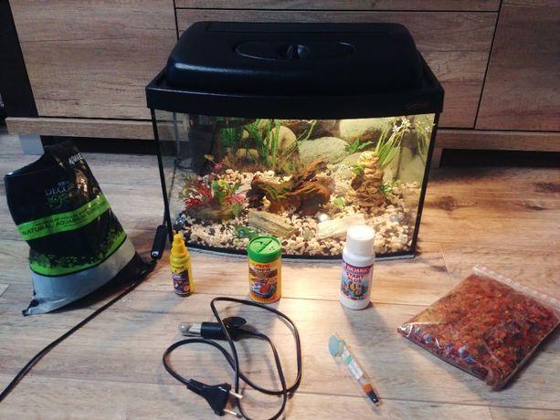 Zestaw akwarystyczny Wromak akwarium 25l filtr Aquael IPX8 +wyposażee