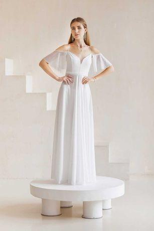 Нарядное белое вечернее платье в пол на свадьбу/роспись/венчание