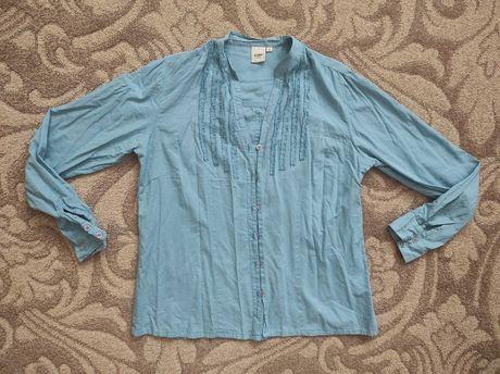 Niebieska koszula damska na guziki