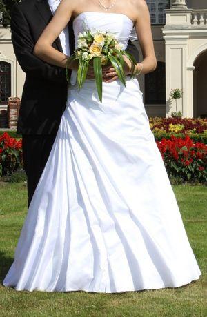 Suknia ślubna; rozmiar S/M; wysoka osoba;