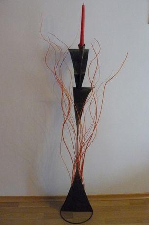 Świecznik ozdobny metalowy patynowany czarno- złoto - stalowy kuty