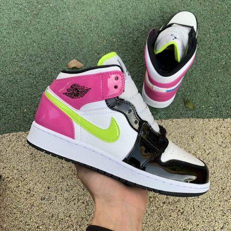 Nike Air Jordan 1 Mid Cyber Active Fuchsia pink jazz женские лаковые