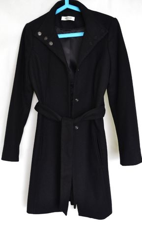 Płaszcz wełniany czarny Naf Naf 34 XS